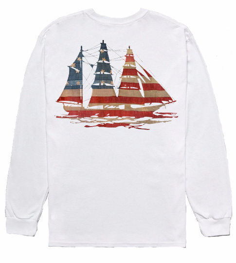 American Flag Sailboat Long Sleeve Tee