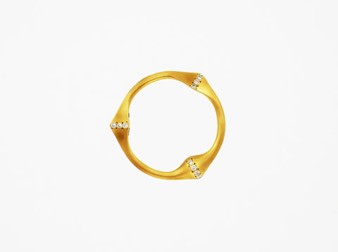 Trine Ring for Her - Brushed & Diamonds