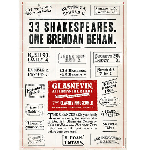 Not One For Begrudgers (33 Shakespeares. One Brendan Behan) Poster
