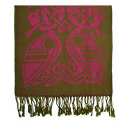 Green/Pink Celtic wool scarf