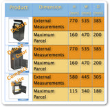 parcel dimensions table
