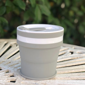 GREY - Original (MEDIUM, Holds 350mls) Collapsible Silicon Coffee Cup