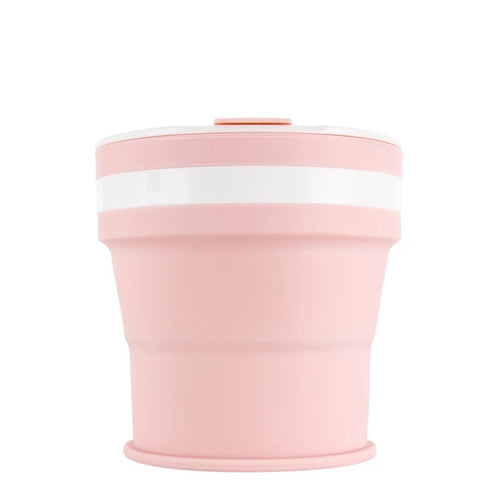 Collapsible Reusable coffee cup. 350ml/12oz collapses to 4cm colour Baby pink. New and improved reusable pocket keep cup