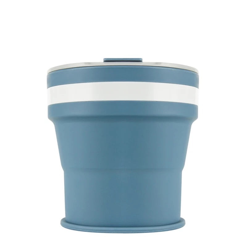 Collapsible Reusable coffee cup. 350ml/12oz collapses to 4cm colour Denim Blue. New and improved reusable pocket keep cup