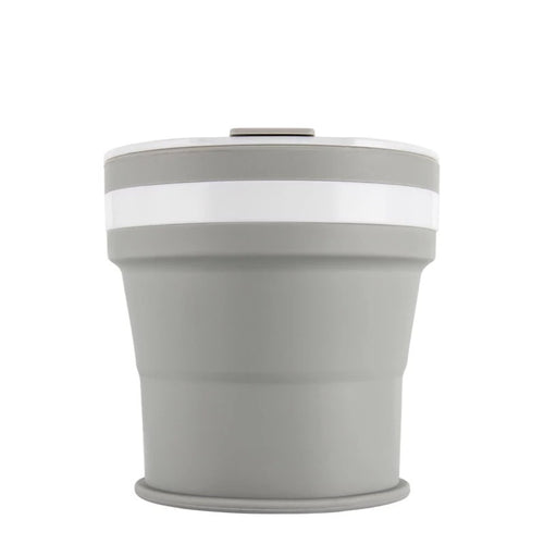 Collapsible Reusable coffee cup. 350ml/12oz collapses to 4cm colour Grey. New and improved reusable pocket keep cup