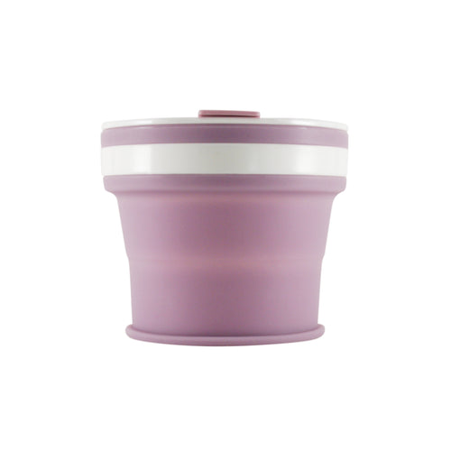 Collapsible Reusable coffee cup. 270ml/9oz collapses to 3cm colour lilac (light purple). New and improved reusable pocket keep cup