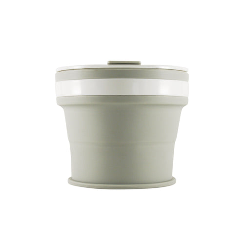 Collapsible Reusable coffee cup. 270ml/9oz collapses to 3cm colour grey. New and improved reusable pocket keep cup