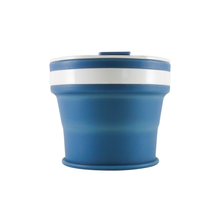Load image into Gallery viewer, Collapsible Reusable coffee cup. 270ml/9oz collapses to 3cm colour denim blue. New and improved reusable pocket keep cup