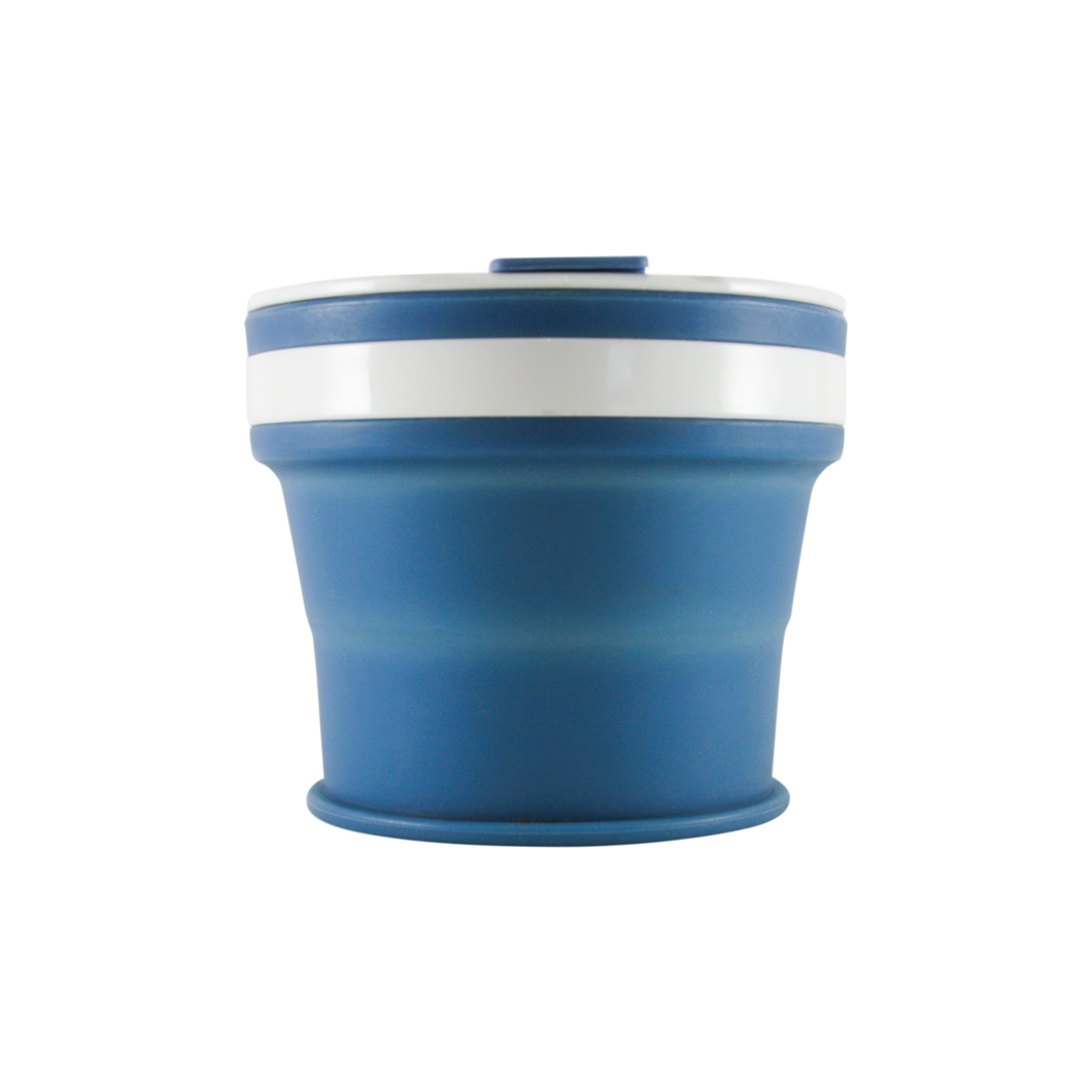 Collapsible Reusable coffee cup. 270ml/9oz collapses to 3cm colour denim blue. New and improved reusable pocket keep cup