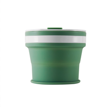 Load image into Gallery viewer, Collapsible Reusable coffee cup. 270ml/9oz collapses to 3cm colour Sage (green). New and improved reusable pocket keep cup
