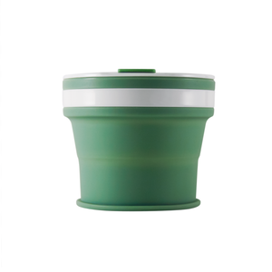 Collapsible Reusable coffee cup. 270ml/9oz collapses to 3cm colour Sage (green). New and improved reusable pocket keep cup
