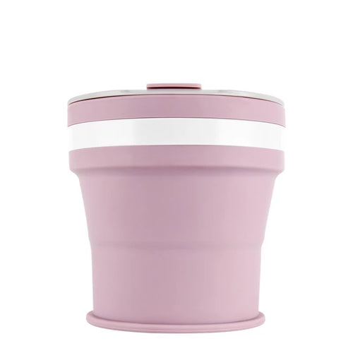Collapsible Reusable coffee cup. 350ml/12oz collapses to 4cm colour Lilac (light purple). New and improved reusable pocket keep cup