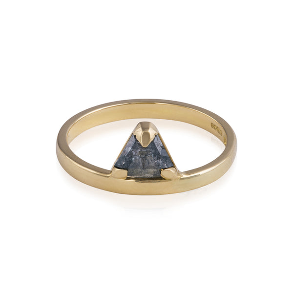 18ct Gold Triangular Grey Diamond Sentinel Ring