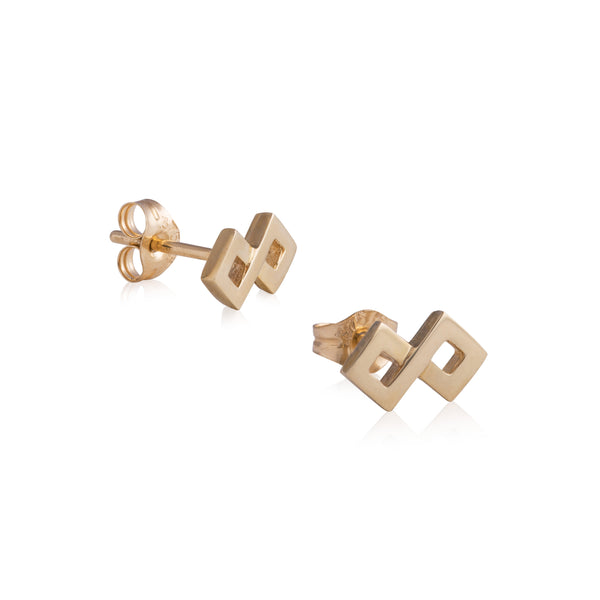Woven Binary Square Earrings