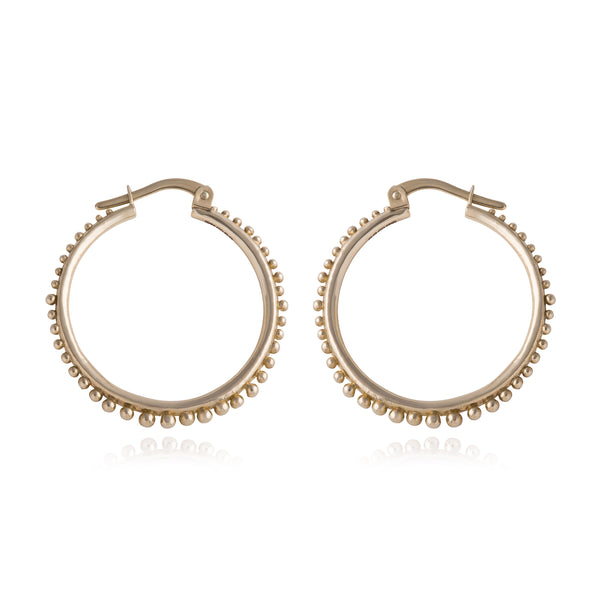 Large Grain Edge Hoop Earrings