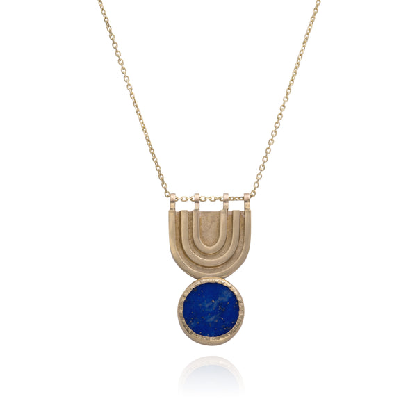 Linea Bib Necklace set with Lapis Lazuli