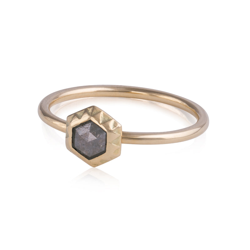 Grey Diamond Hexagon Patterned Ring