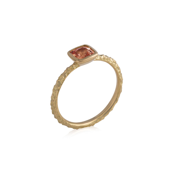 Cushion Cut Peach Sapphire Gold Ring