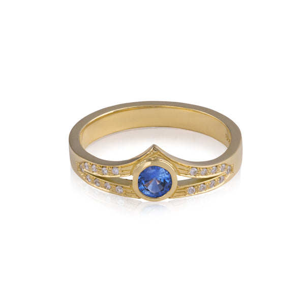 Crested Blue Sapphire Ring