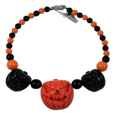 Jack O Lantern Pumpkin Necklace