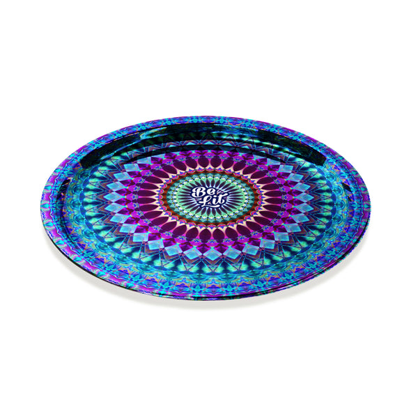 Be Lit Round Rolling Tray, Mandala in Blue