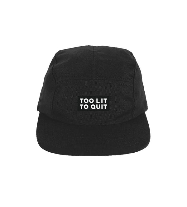 "Be Lit 5-Panel Hat, ""Too Lit To Quit"" in Black"