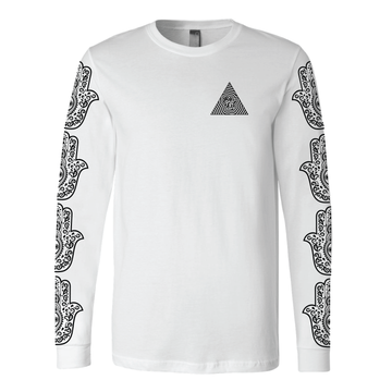 Be Lit Long-Sleeved White Tee, Hamsa