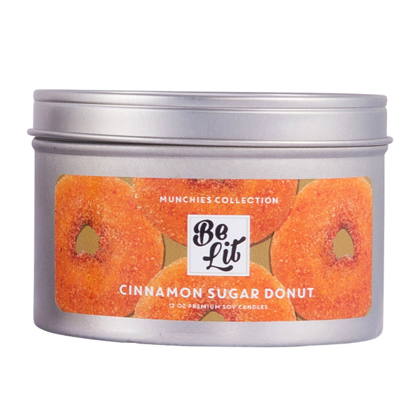 Be Lit Munchies Collection 12oz Candle, Cinnamon Sugar Donut
