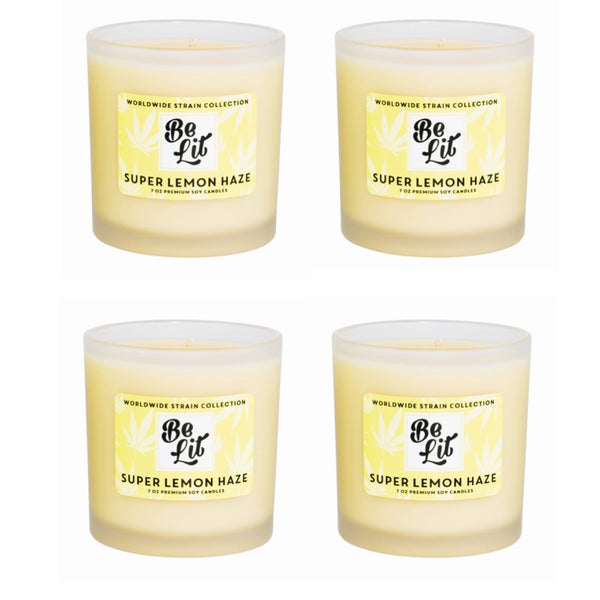 Be Lit Premium Soy Candles, Super Lemon Haze 4/Pack