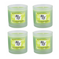 Be Lit Premium Soy Candles, NYC Sour Diesel 4/Pack