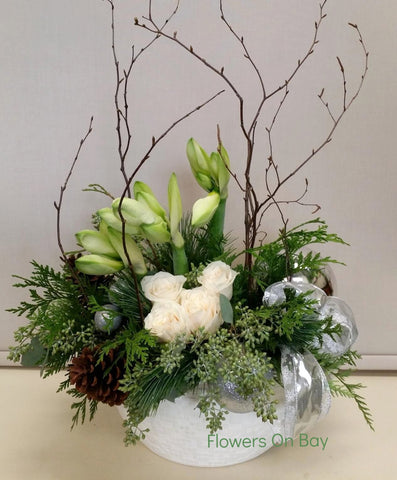 White Amaryllis Basket