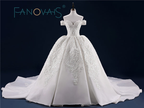 Luxury Wedding Dress Full Beading Lace Bridal Gowns With Long Train Sequin Beads Pearls Vestido de Novia Wedding Dresses