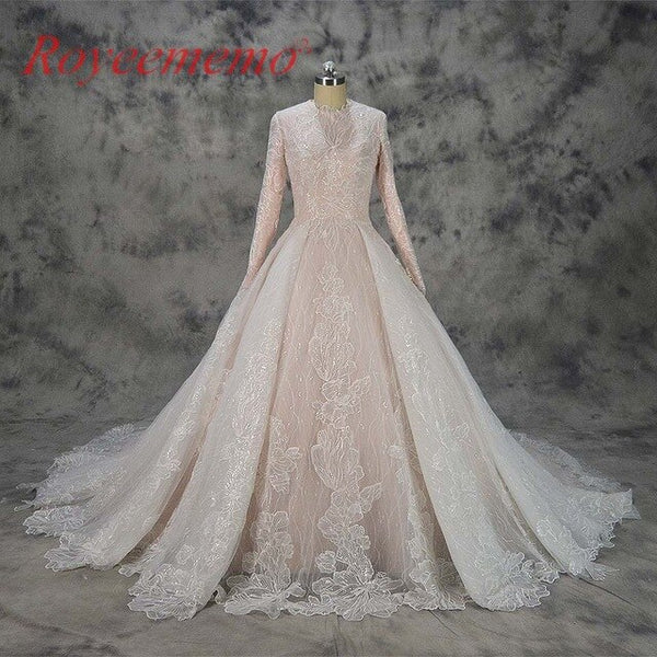 2c6beca44334 hot sale special lace design Muslim Wedding Dress nude satin all covered Bridal  gown long sleeves