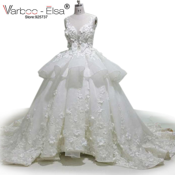 VARBOO_ELSA White Organza Romantic 3D Appliques Wedding Dress 2018 Cute Bow Bridal Gowns Luxury Crystal Beaded Wedding Ball Gown