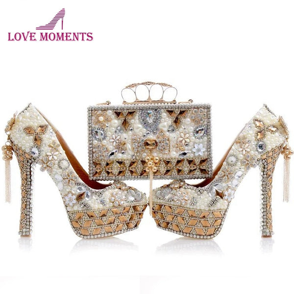 795c3dc64 Newest Design White Pearl Wedding Shoes with Matching Bag Gorgeous Handmade  High Heels Women Crystal Bridal ...