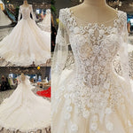 Wedding Dress 2018 The High-end Half Sleeve Noble O-neck Luxury Flower Appliques Sweep Train Sexy Illusion Ball Gown