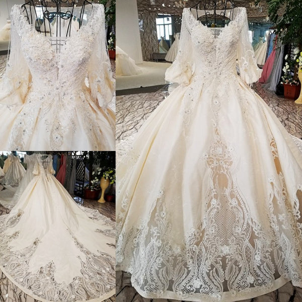 Skirt Boat Neck Half Sleeve Embroidery Luxury Lace Long Tail Formal Bridal Princess Wedding Dress Custom