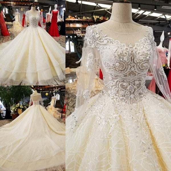 Wedding Gown 2018 Luxury Long Sleeves Vintage Wedding Dresses High-end Custom Sequined Sexy Bridal Trian