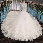 Vestido de noiva casamento backless appliques 3/4 sleeves lace ball gown beading lace Luxury wedding dresses real photos 2018