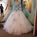 Backlake Luxury bridal gown with sleeves beading 3D flowers ball gown lace wedding dress vestidos de noivas real photos