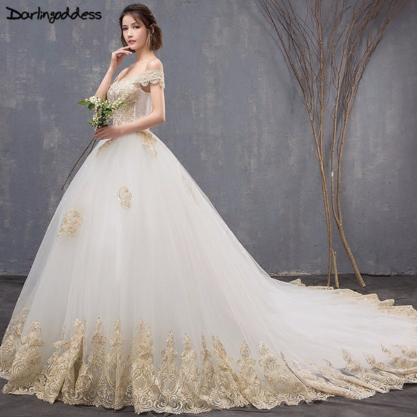 Vestido de Noiva Luxury Gold Lace Wedding Dresses 2018 Ball Gown Cap Sleeve Long Tail Wedding Dresses Elegant Muslim Bridal Gown