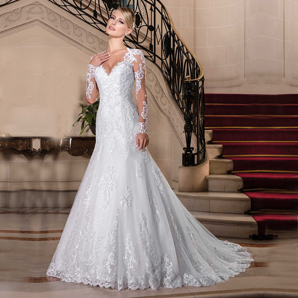 Vestido de Noiva 2018 Sexy Lace Long Sleeve Wedding Dresses China Bridal Gowns Vintage Bohemian Mermaid Wedding Dress Casamento