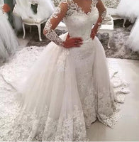 Robe de mariee Luxury Mermaid Lace wedding dress with detachable train removable skirt Lace Wedding Dress 2019 vestido de noiva