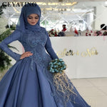 Vintage Blue Lace Muslim Plus Size Wedding Dress with Sleeves Ball Gown Princess Bridal Gowns Arabic Wedding Dresses Dubai 2018