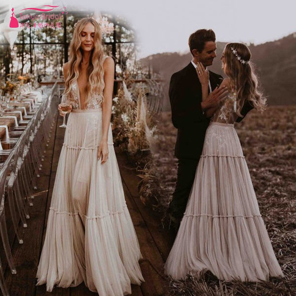 3a7f1a3173 Nude Champagne Wedding Dresses 2019 Deep V-Neck Whimsical Boho Dreamy Bridal  Gowns Sexy Beach ...