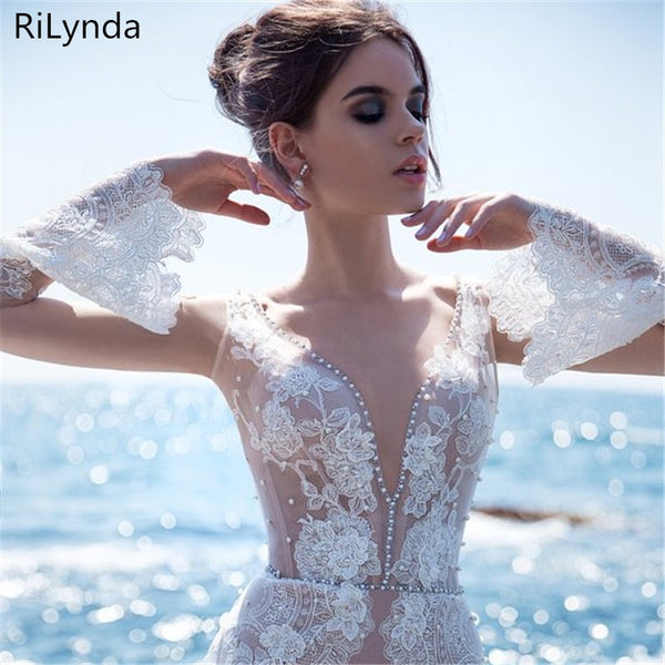 Wedding Dress 2019 V Neck Cap Sleeve Lace Beach Wedding Gown Cheap Backless Custom Made Free Shipping Bride Dresses