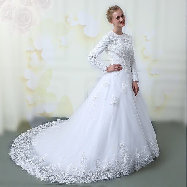 wuzhiyi muslim wedding dresses 2018 Custom made lace-up wedding gowns Long sleeves with lace Appliques wedding dress New muslim
