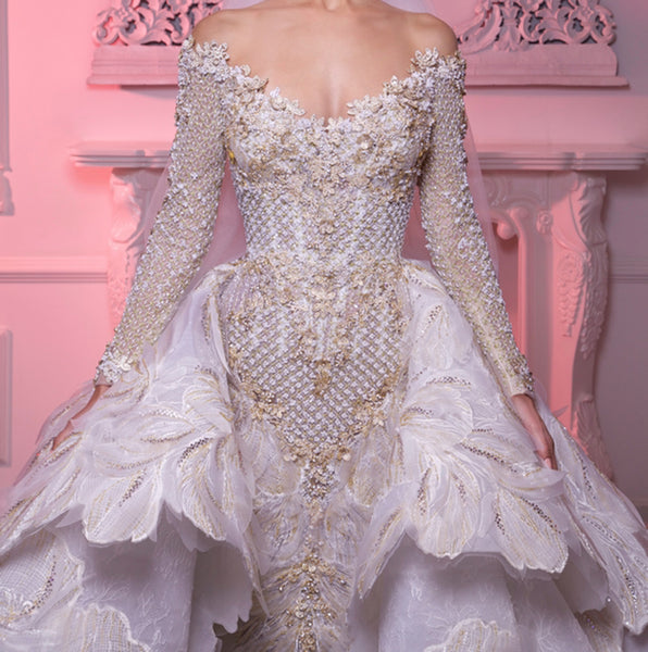Eslieb Vintage High-end Custom made Luxury Wedding Dress 2019 Ball Gown Bridal Dresses Vestido de Noiva