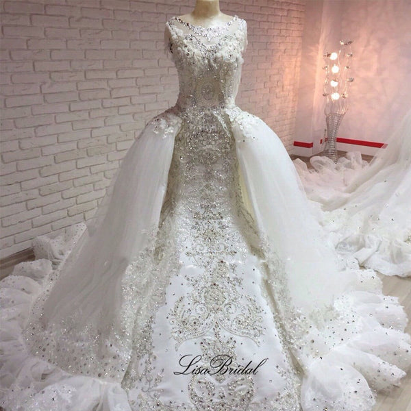 Gorgeous New Long Wedding Dress 2017 Scoop Cap Sleeve Chjpel Train Crystal Beading Bridal Gowns Robe de mariage