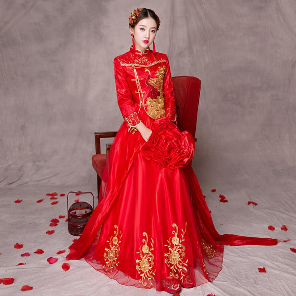 Women Traditional Chinese Gown 2017 New Long Cheongsam Wedding Dress Bridesmaid Bride Batch Loading Modern Qipao Dresses
